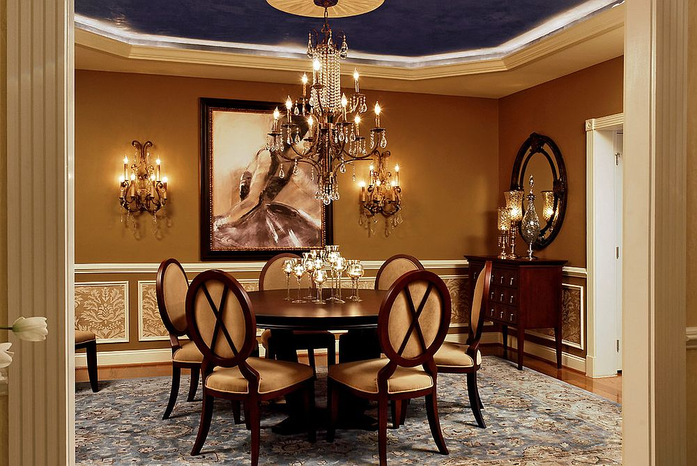 Charming dining room brings Hollywood Regency glam to a Victorian setting