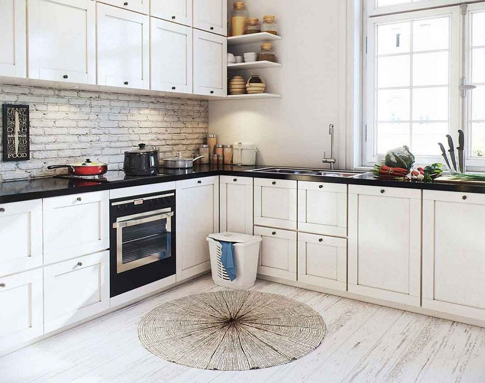 Corner shelves and cabinets for the stylish Scandinavian kitchen