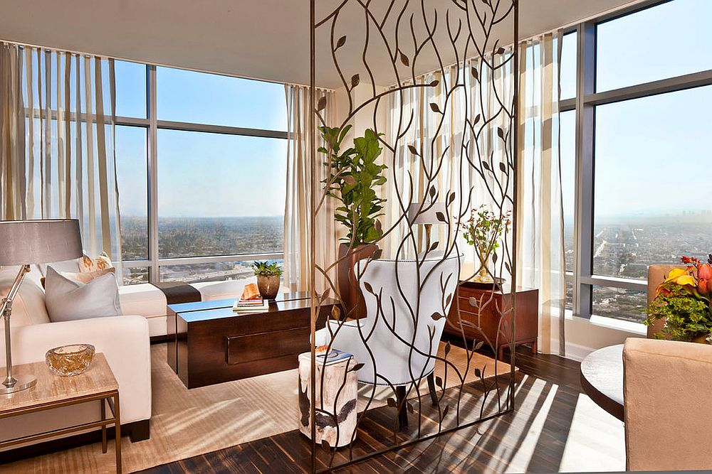 Custom crafted room divider brings a hint of artistic beauty to the living room