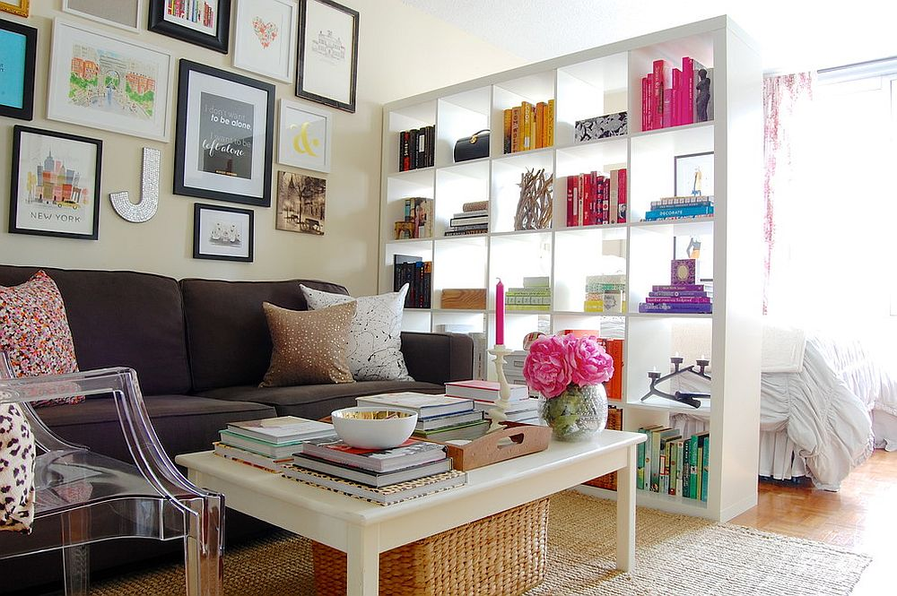 Expedit bookshelf from IKEA used as a room divider in the shabby chic home