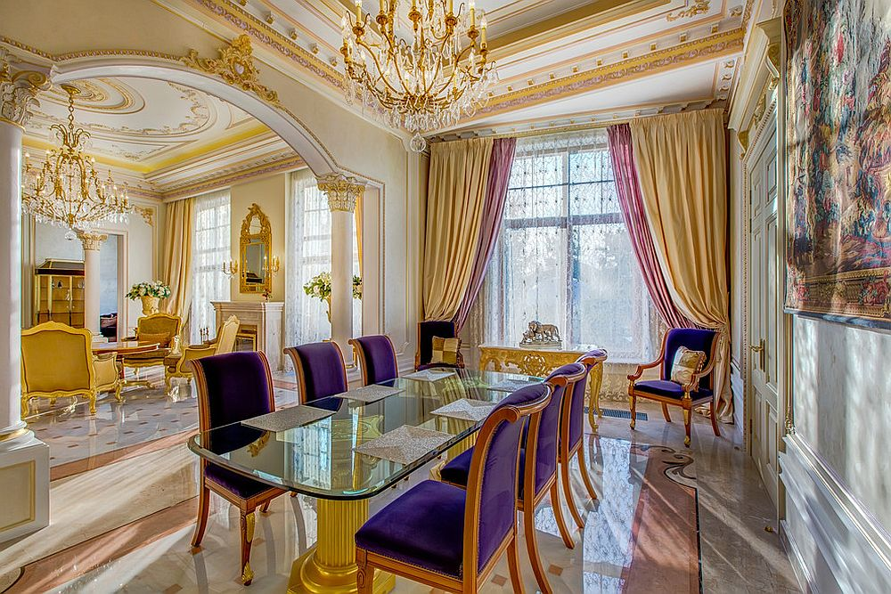 Gold and purple is the perfect color duo for the regal Victorian dining room