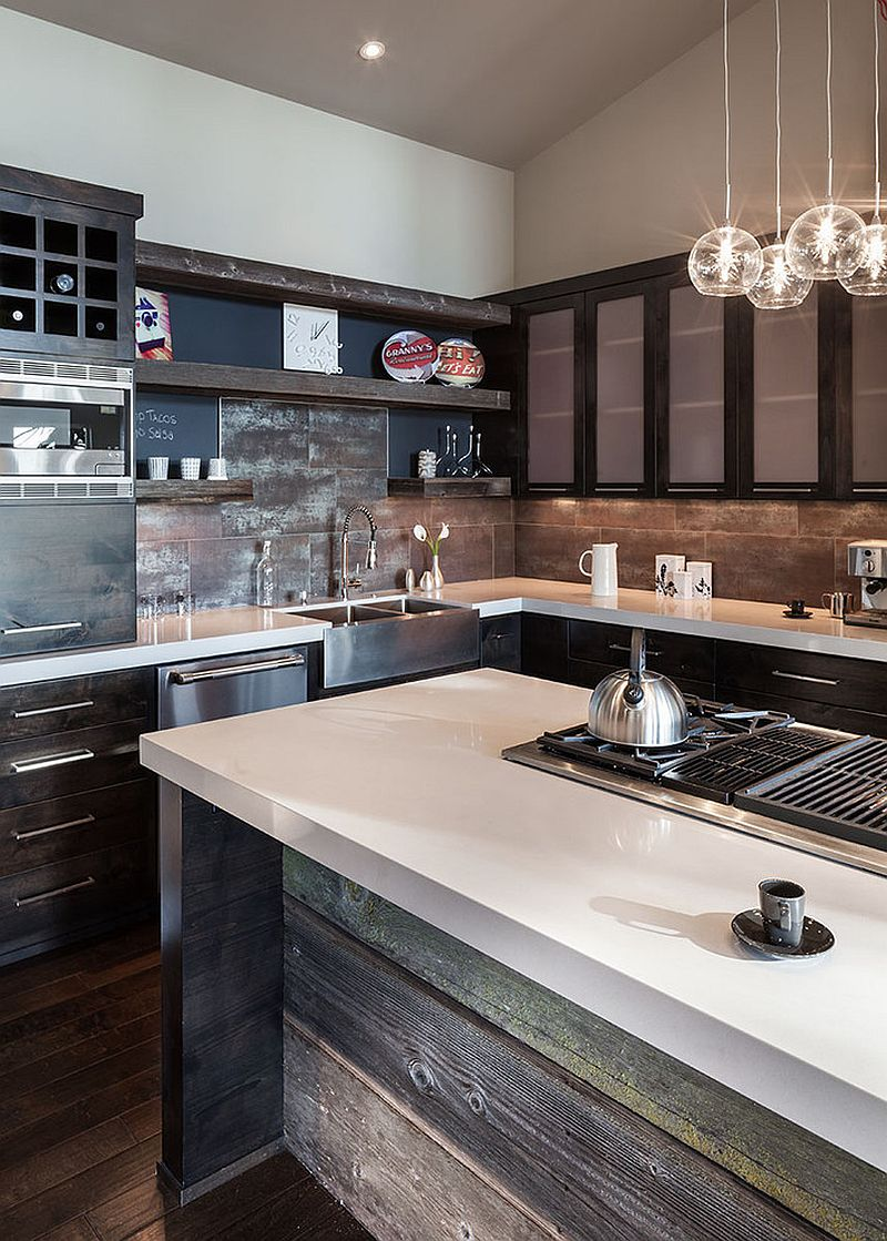 Ingenious kitchen backsplash crafted from reclaimed wood