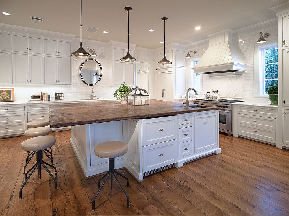 Large reclaimed wood counter top for the kitchen island with breakfast zone