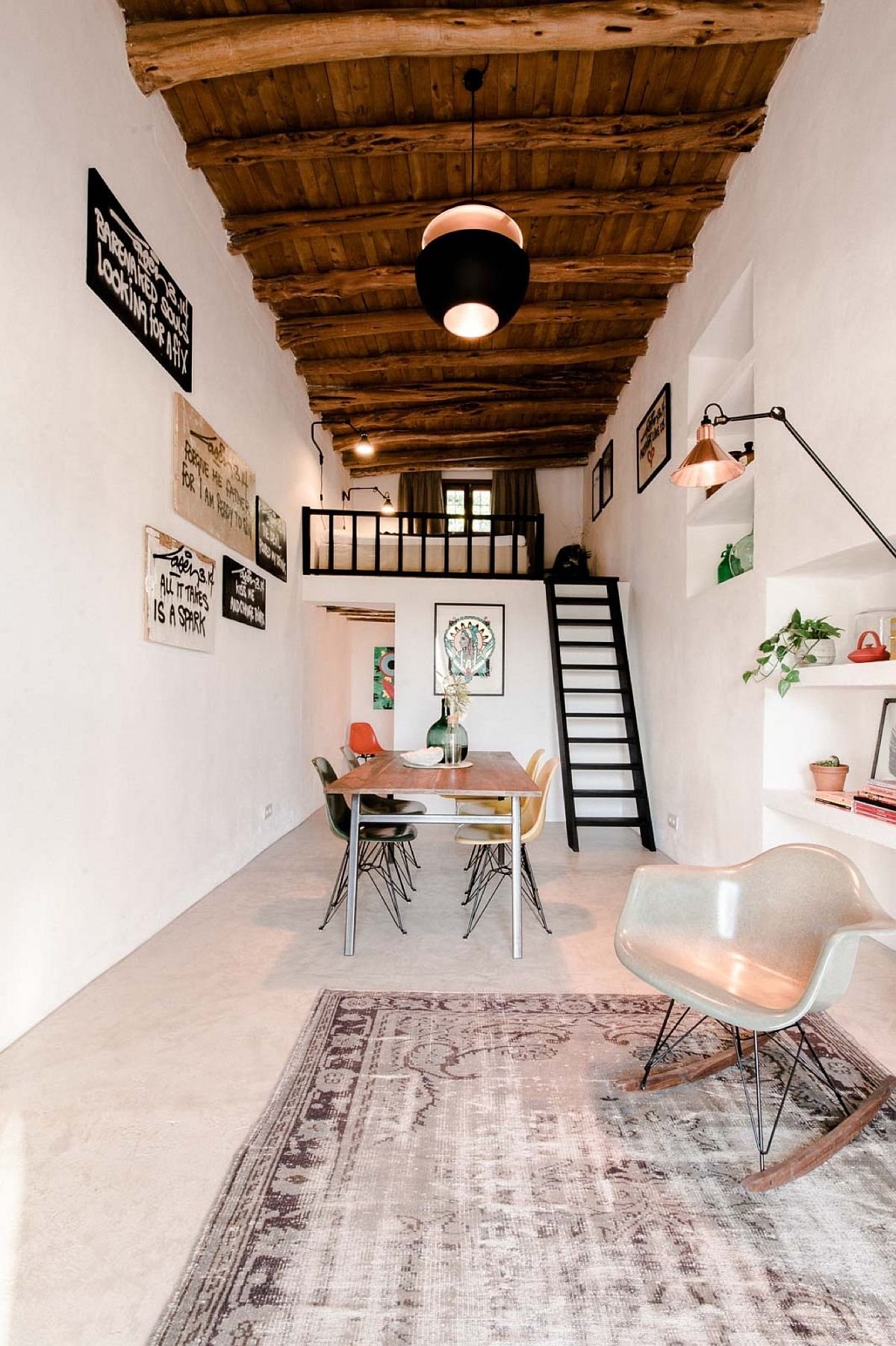 Living room of the Ibiza guesthouse combines the old and the new