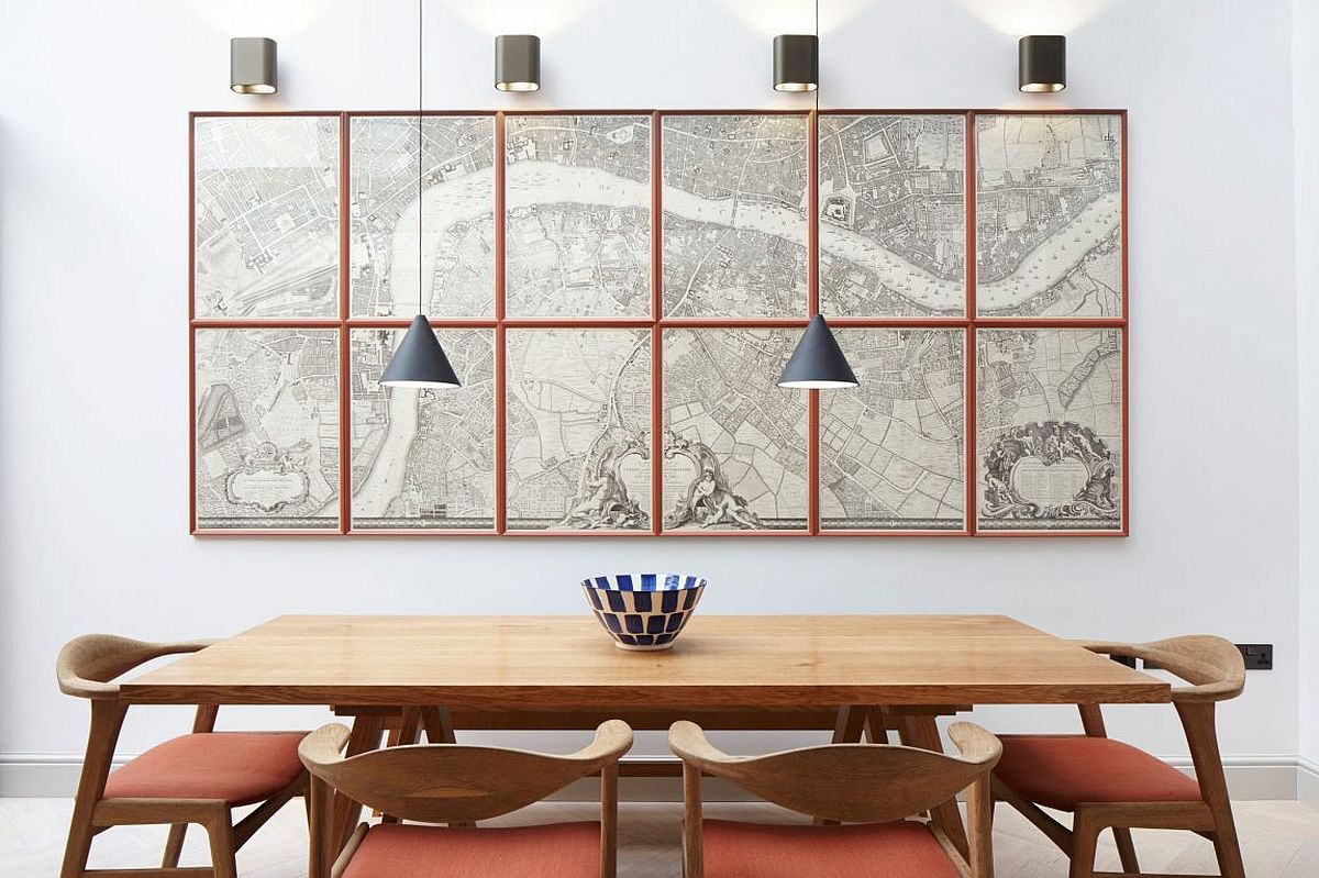 Contemporary dining room with cool pendants and interesting wall art