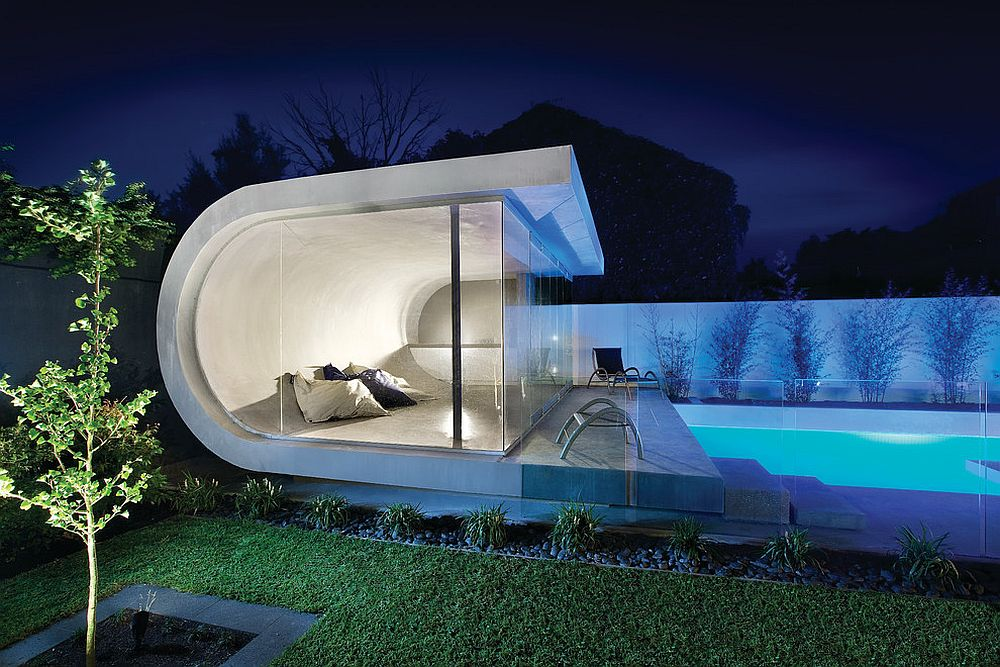 Custom contemporary pool house inspired by waves! [Design: Canny Design]