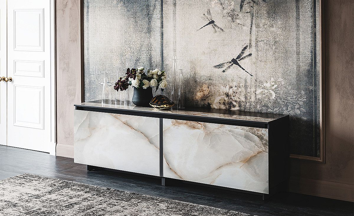 Elegant sideboard with sliding doors and insert and marble finish