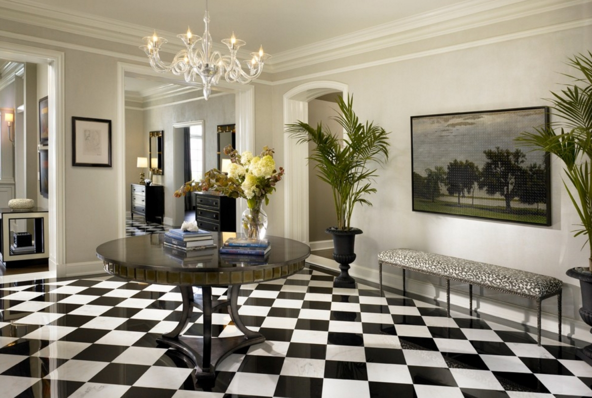 Foyer with a checkered floor from Morgante Wilson Architects