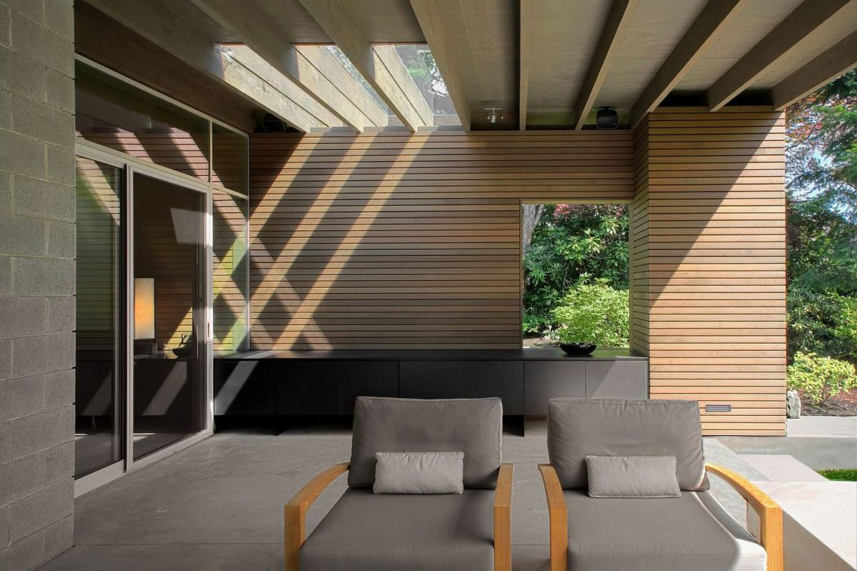 Outdoor lounge and barbeque zone at the serene Seattle home