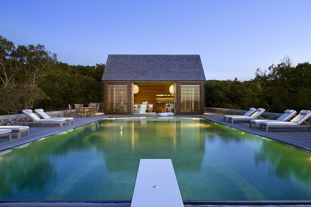 Pool house completes the relaxing setting to absolute perfection [Design: Ike Kligerman Barkley]