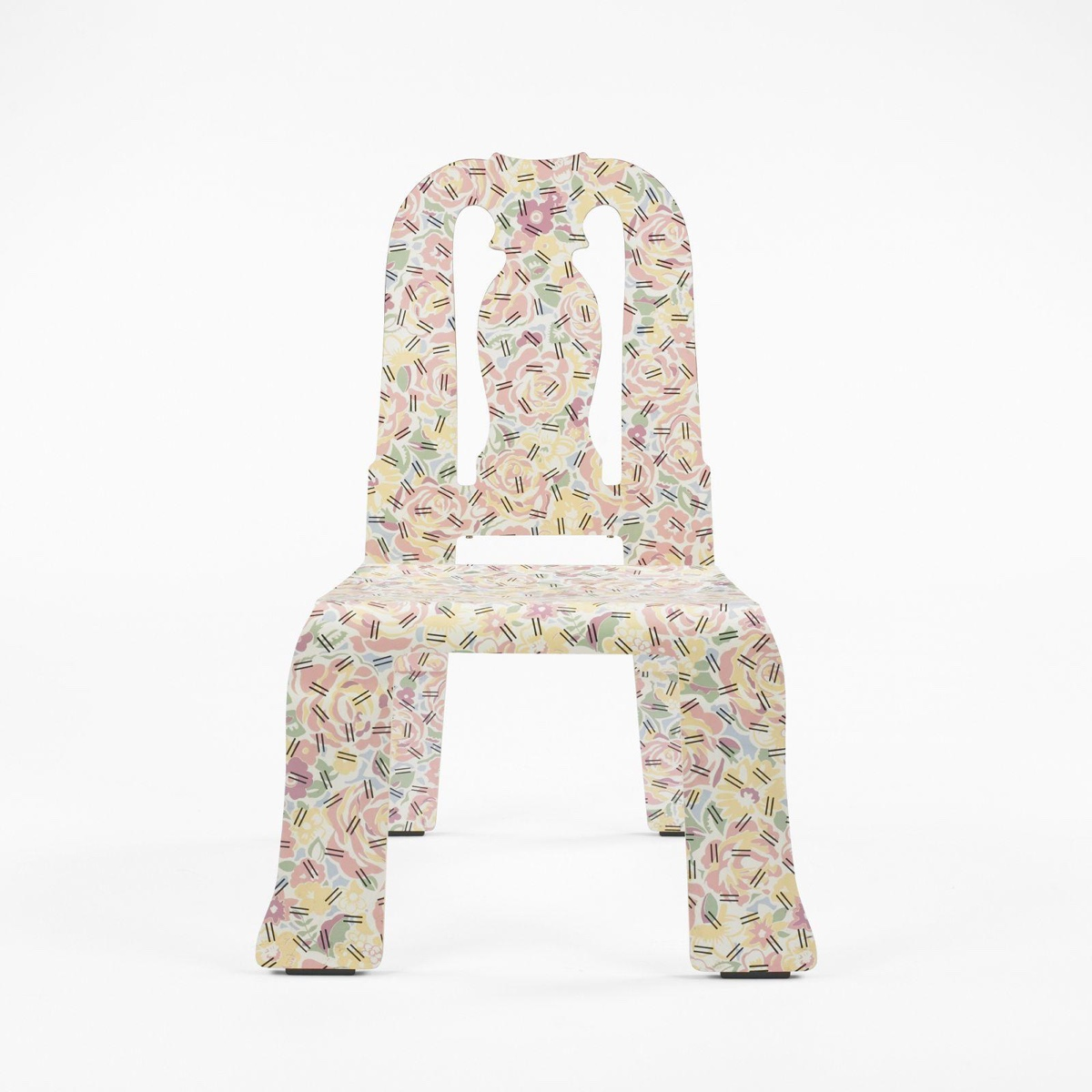"The Memphis-esque ""Grandmother"" pattern applied to the chair was designed by Denise Scott Brown. Image © iCollector.com."