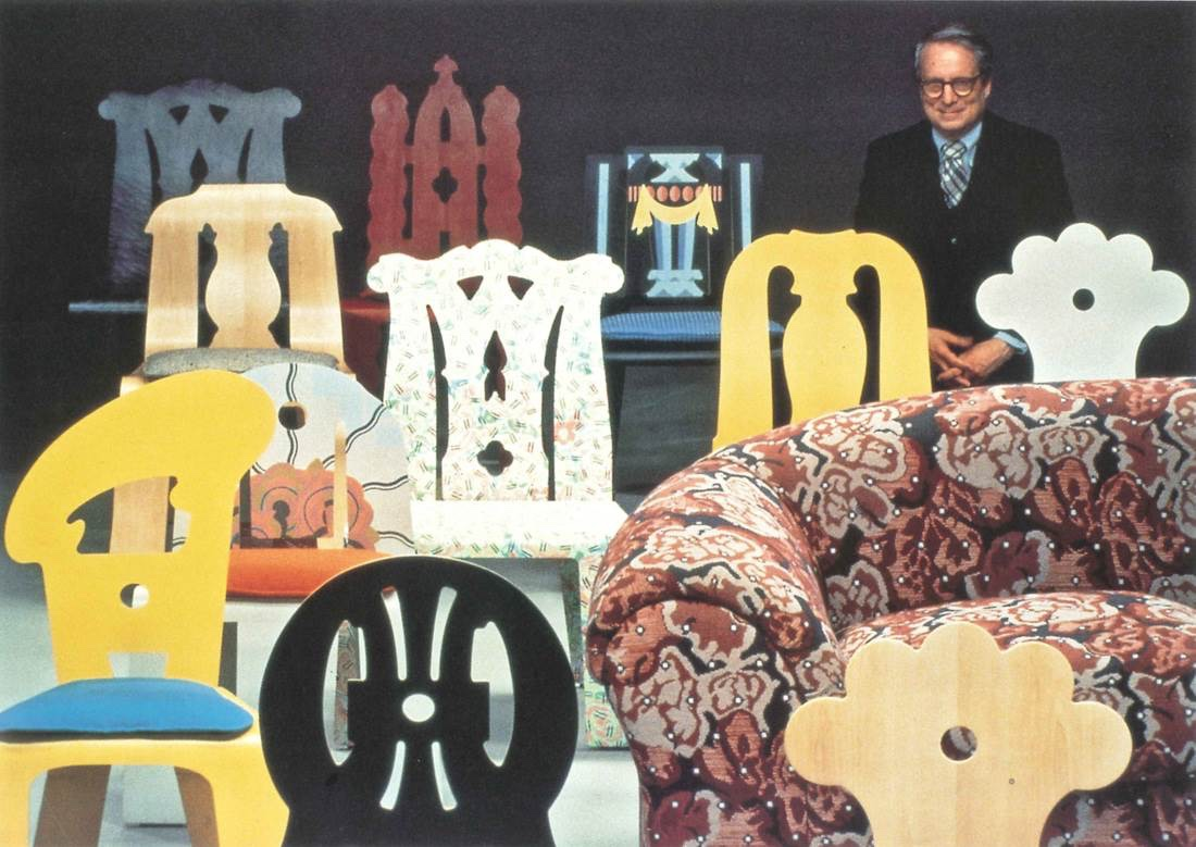 Queen Anne was part of a series of nine chairs created by Robert Venturi for Knoll between 1979 and 1984. The Queen Anne chair is pictured in the middle row, second from right. Image via Daniella On Design.