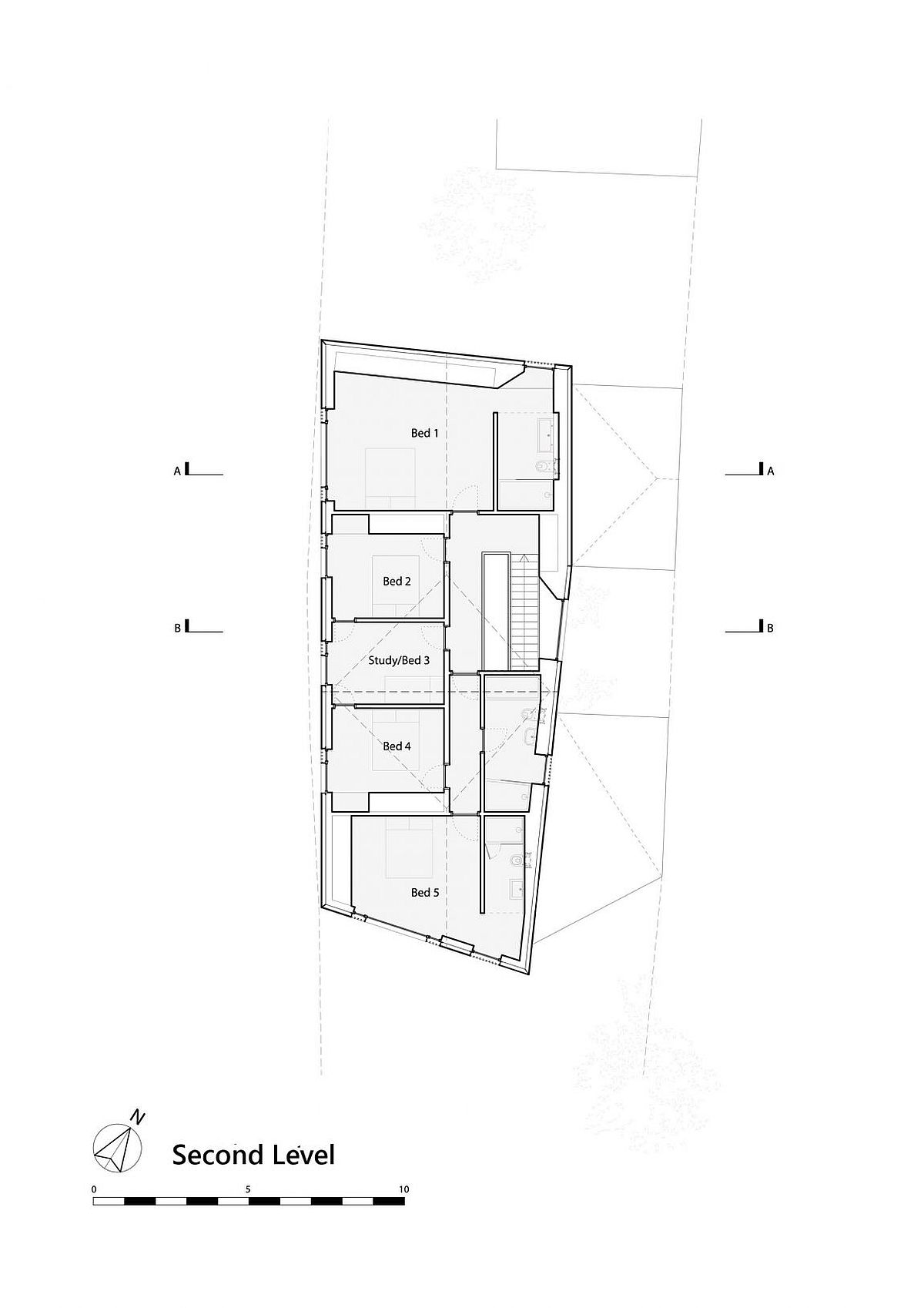 Second level floor plan of riverside English home with five bedrooms