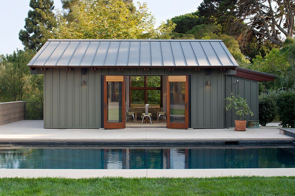 Smart modern pool house in steely gray [Design: KAA Design]