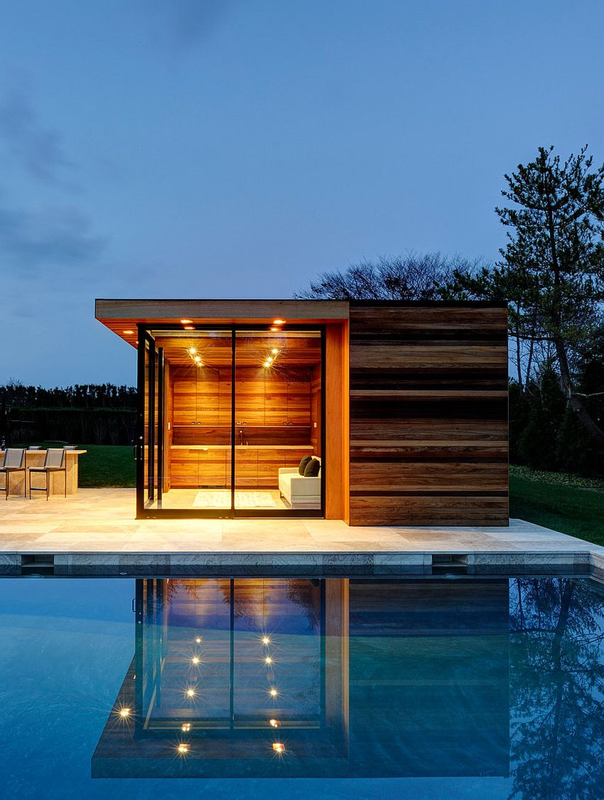 Woodsy, small pool house showcases clean design lines and exquisite style [Design: Bates Masi Architects]