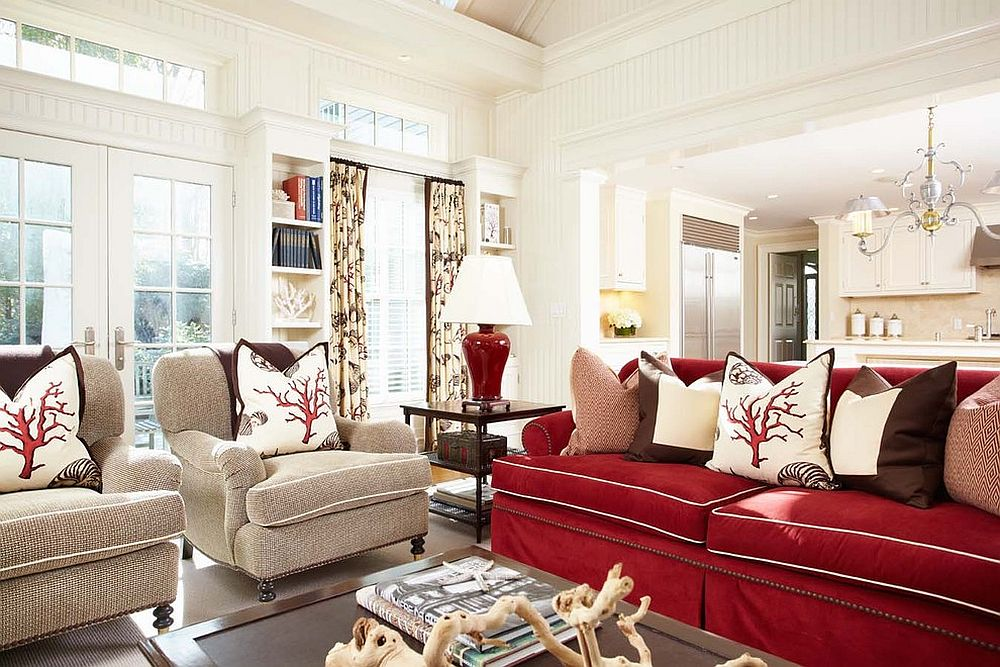 A touch of beach style elegance rejuvenates the gorgeous family room in white and red [Design: Tiffany Eastman Interiors]