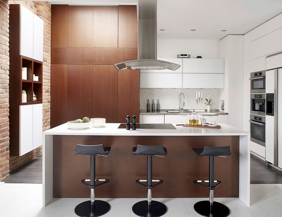 Brick and wooden surfaces add textural beuaty to the kitchen