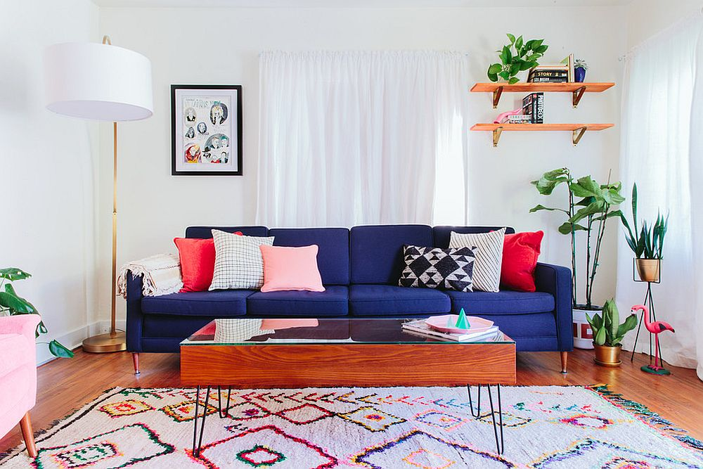 Deep blue sofa fills the living room with cheer [Design: Taylor + Taylor]