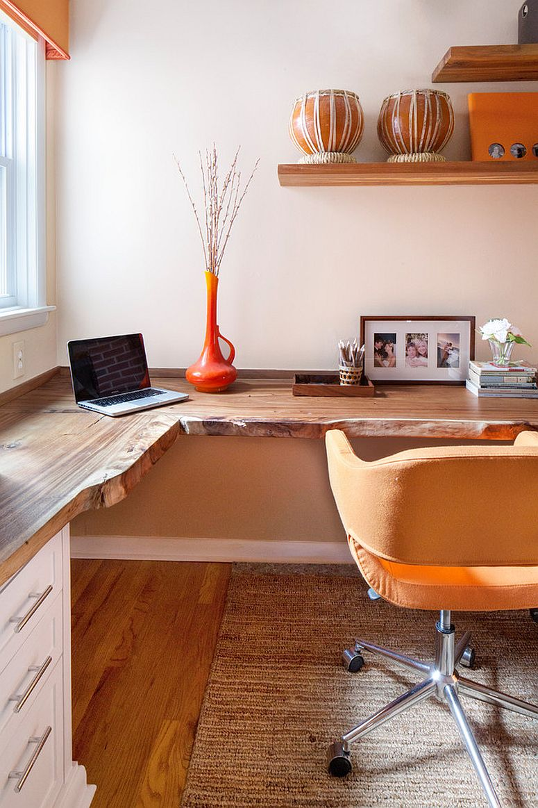 Fabulous home office with live edge desk and multiple workstations