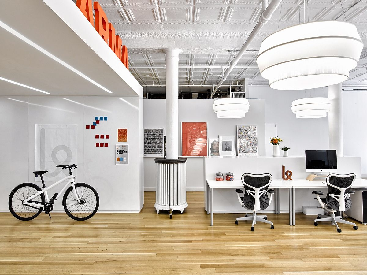 Fabulous pendants add to the lighting inside the office