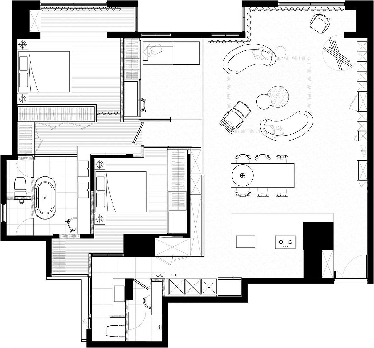 Floor plan of the revamped private residence in Taipei