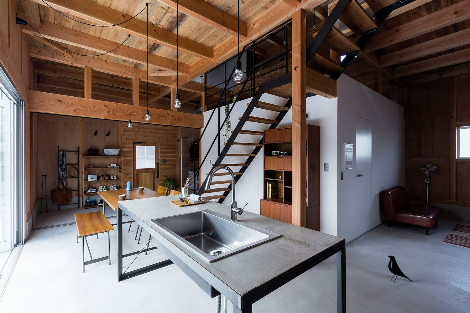 Interior of the home mimics the style and appeal of a renovated warehouse