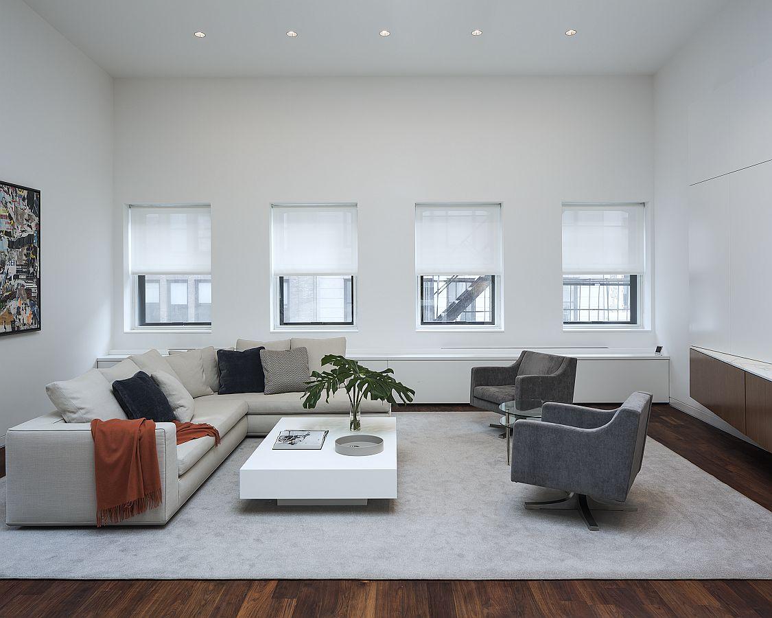Living room of the renovated NoHo loft