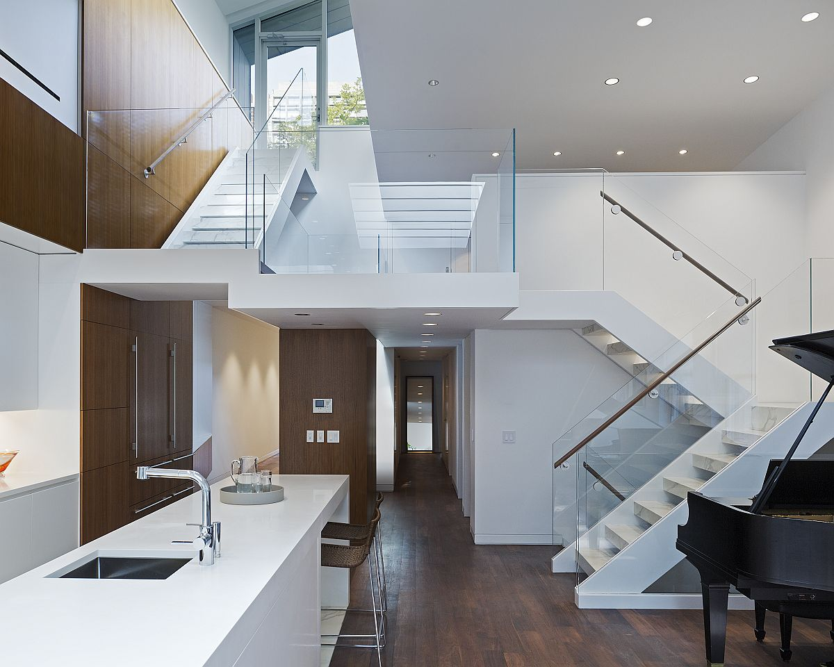 Lower level living area, mezzanine level and top level of the NoHo Loft in Manhattan, New York CIty