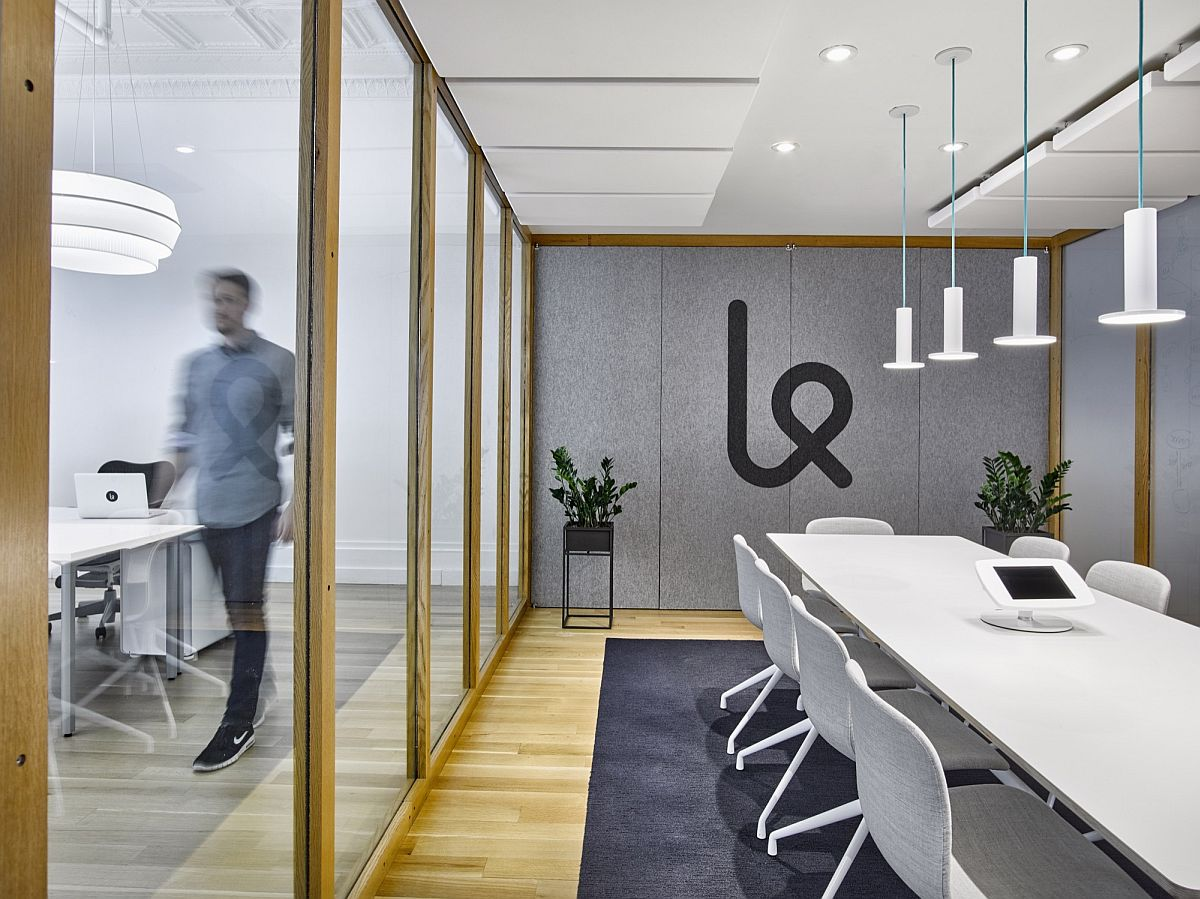 Meeting room of the Karma office with sliding glass doors