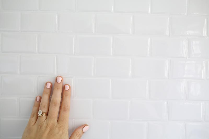 Peel-and-stick subway tile backsplash from A Beautiful Mess