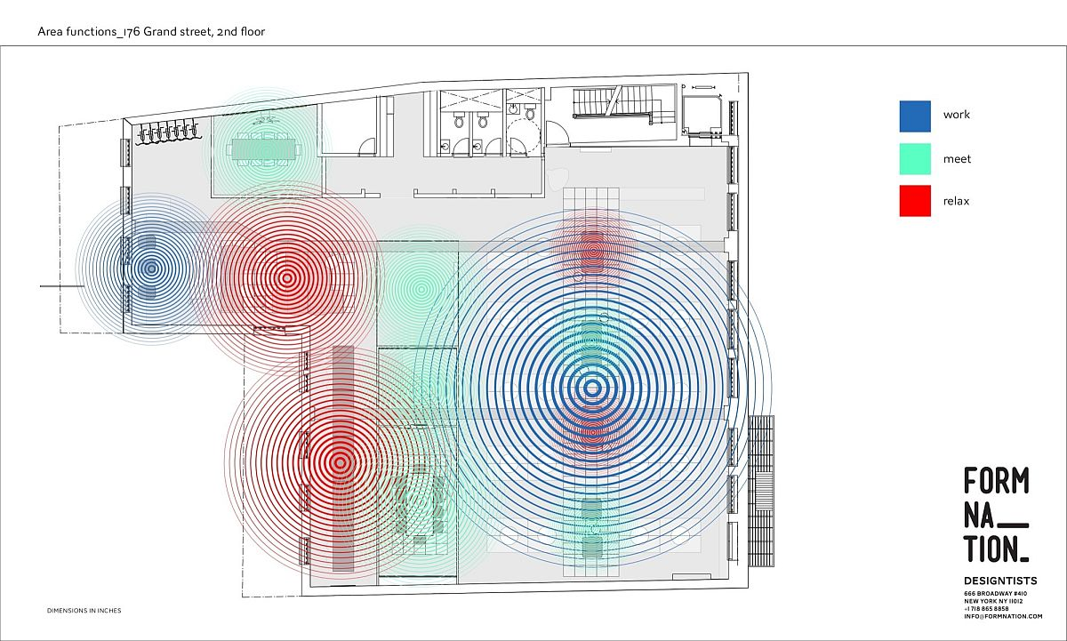 Plan of different zones inside the Karma office