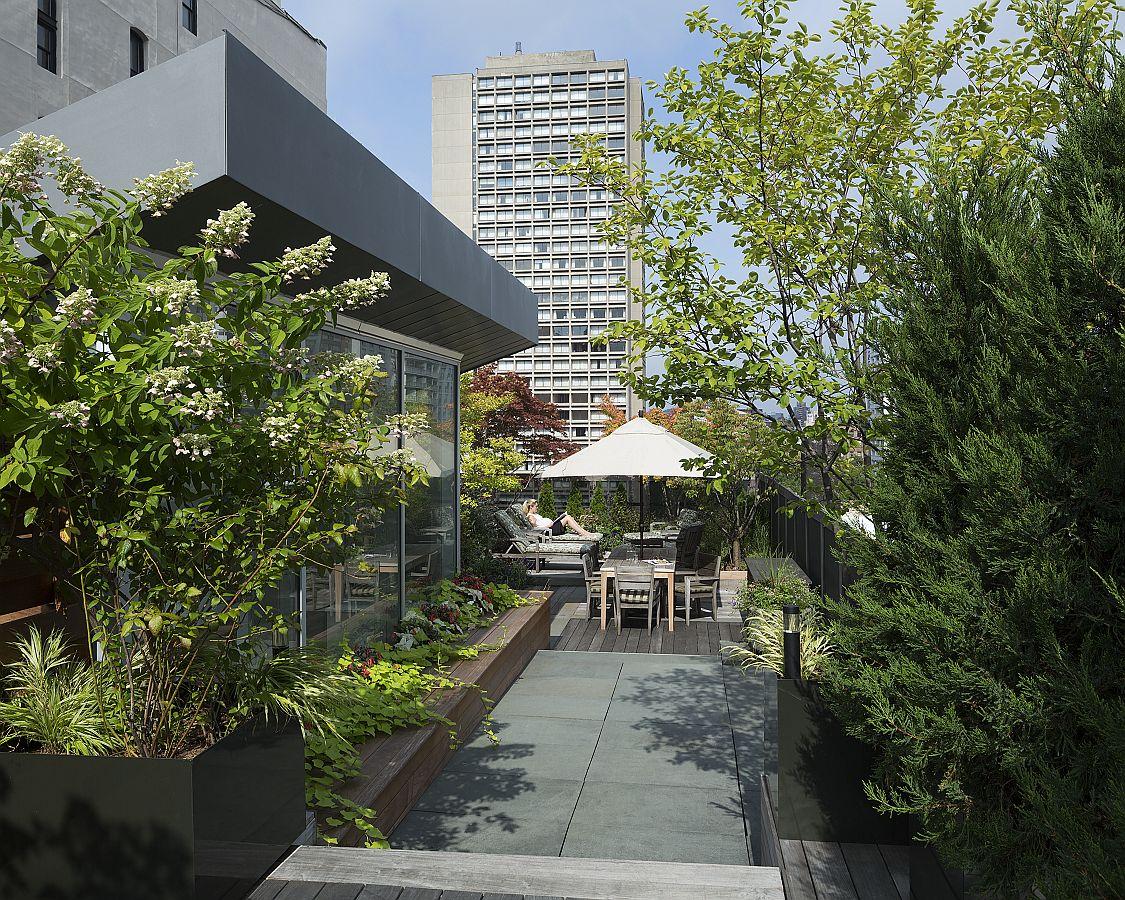 Roof garden of the NoHo Loft designed by DXA Studii in New York