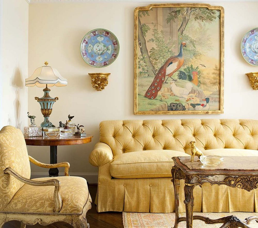Skirted sofa in yellow for the traditional living room [Design: Isler Homes]