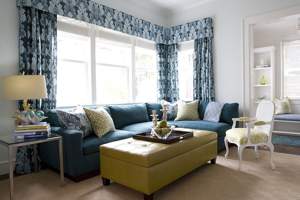Smart combination of yellow and blue in the family room [Design: Kendall Wilkinson Design]