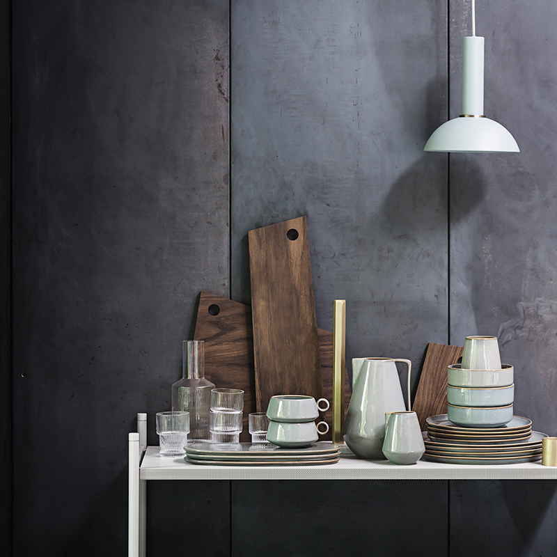 Stoneware and wooden cutting boards from ferm LIVING