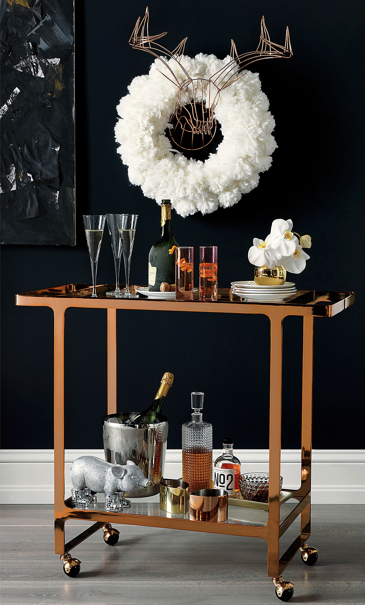 Copper bar cart from CB2