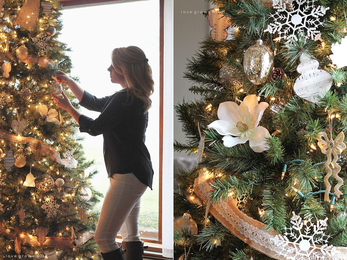 Burlap, lace and sparkling silver ornaments to decorate the Christmas tree [From: Love Grows Wild]