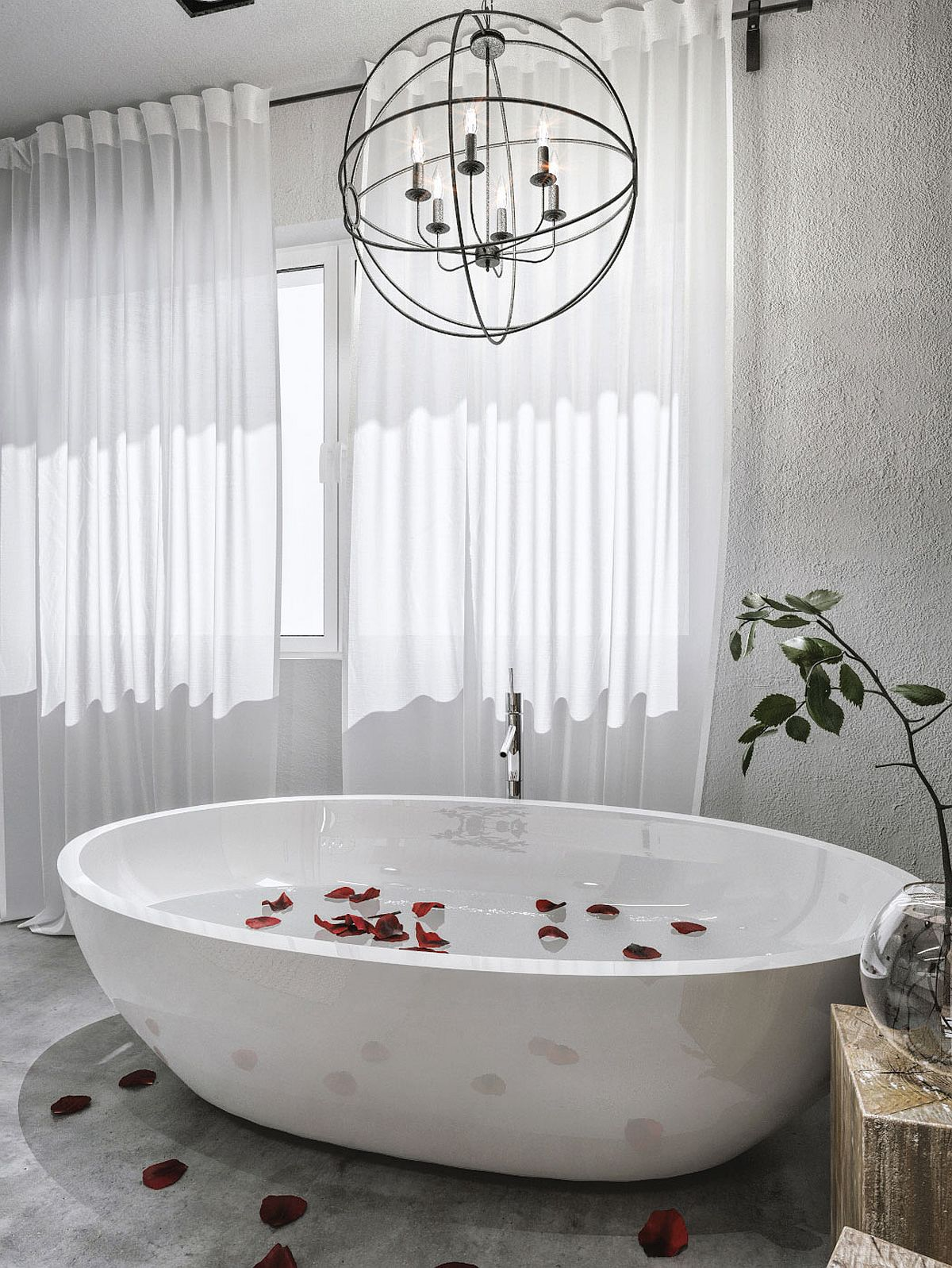Candles and globes make a cool pendant above the luxurious bathtub