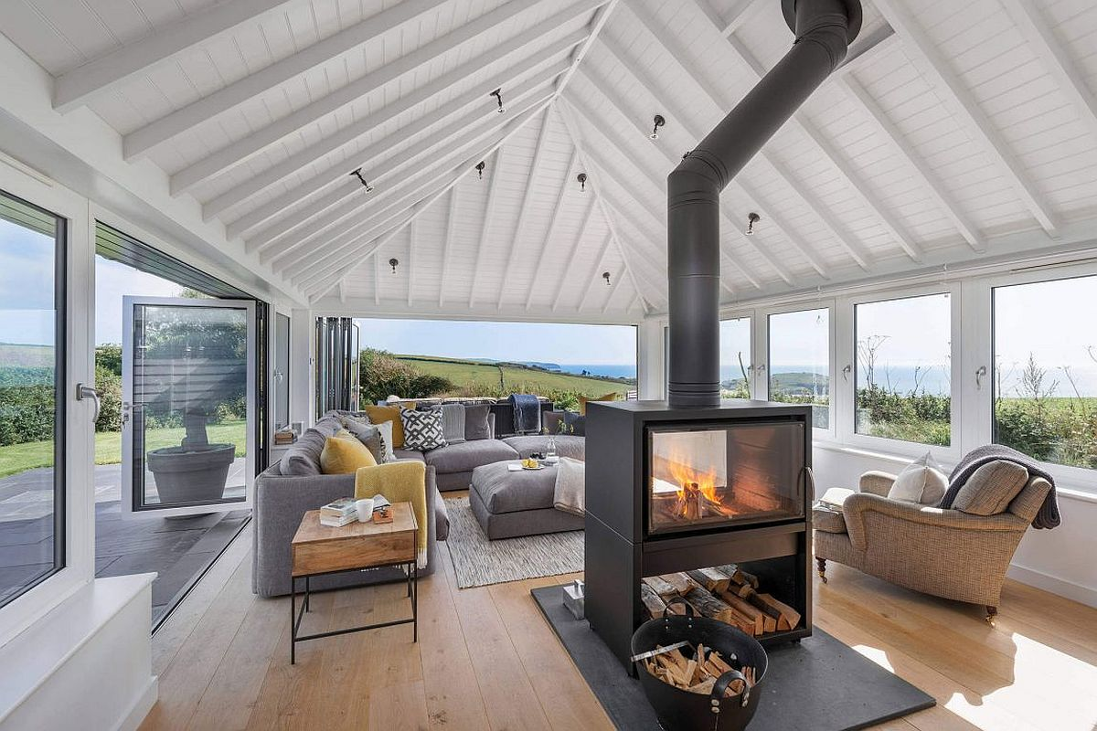 Central double sided fireplace of the coastal home