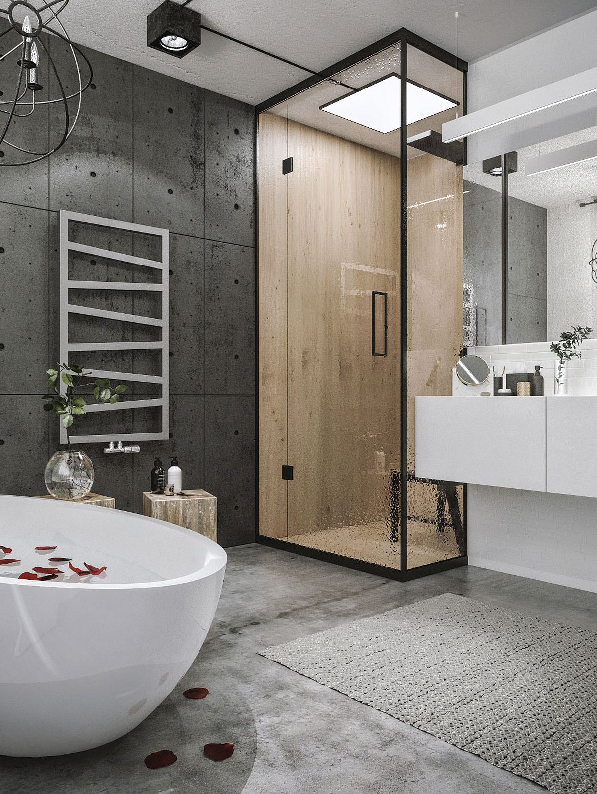 Corner shower area with sliding glass doors