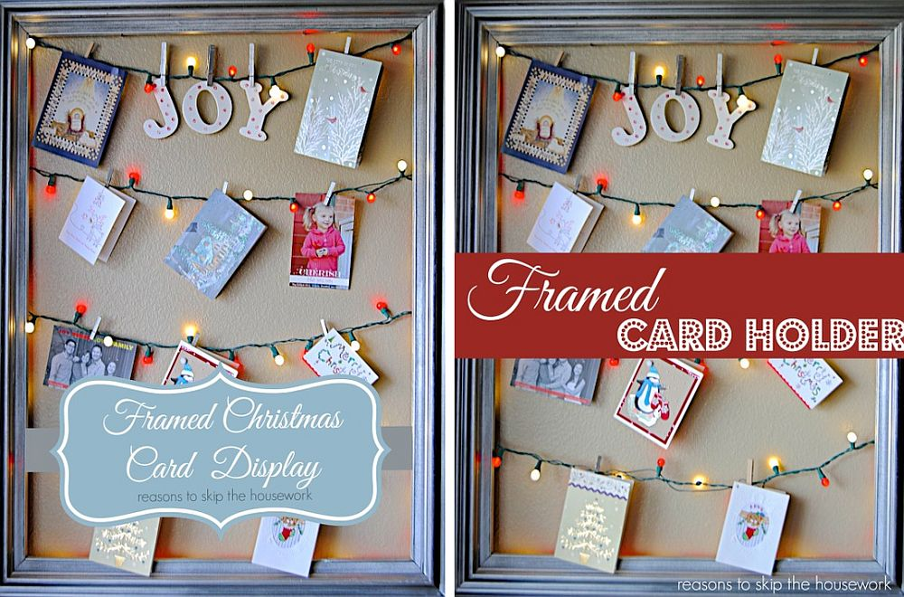 DIY framed Christmas card display [From: Reasons to Skip the Housework]