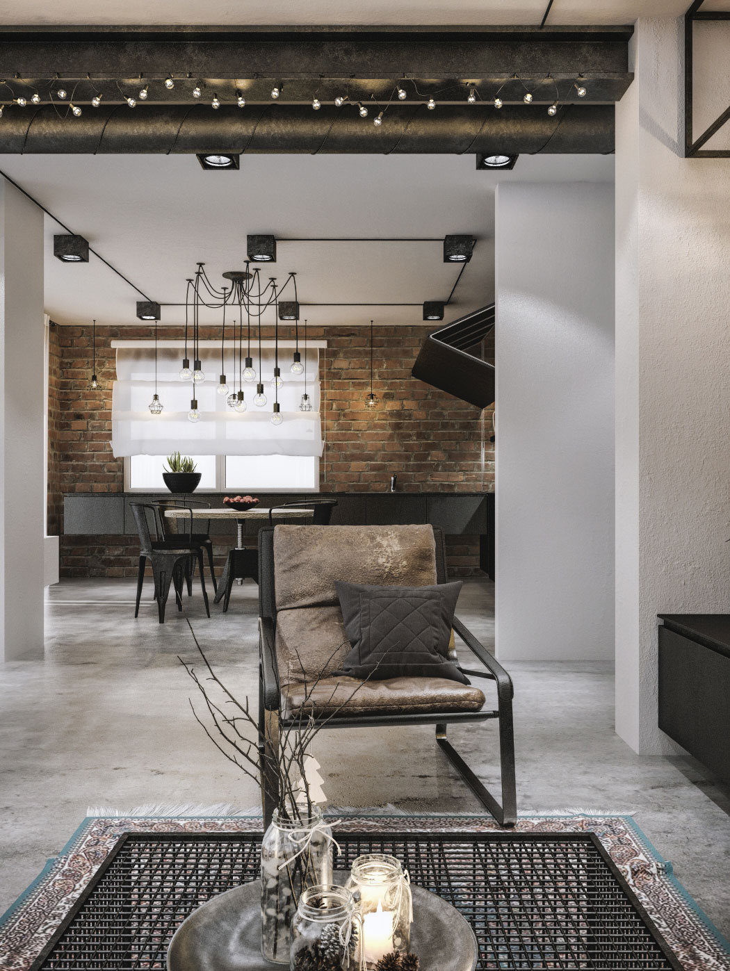 Exposed brick walls and Edison bulb lighting for the industrial dining room