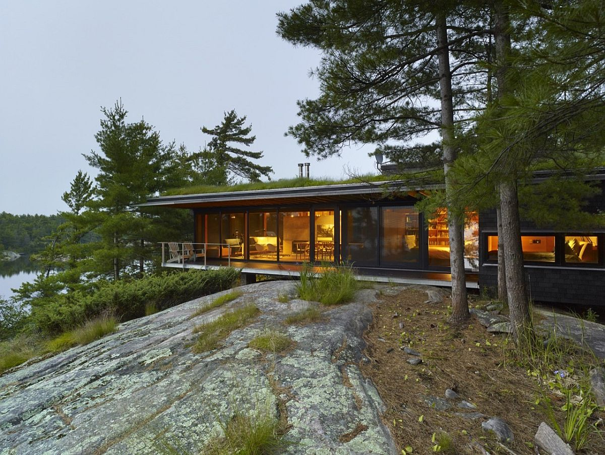 Go Home Bay Cabin in Ontario with gorgeous green roof and serene ambiance