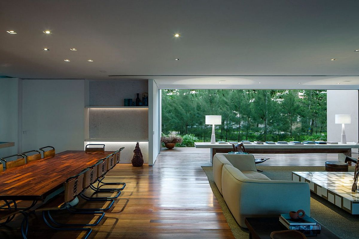 Greenery outside becomes a part of the interior at stylish home in Brazil