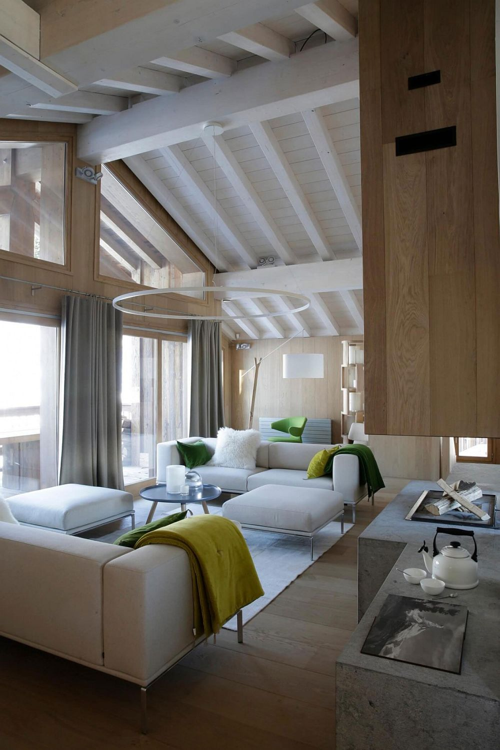 Neutral contemporary interior of Chalet in France