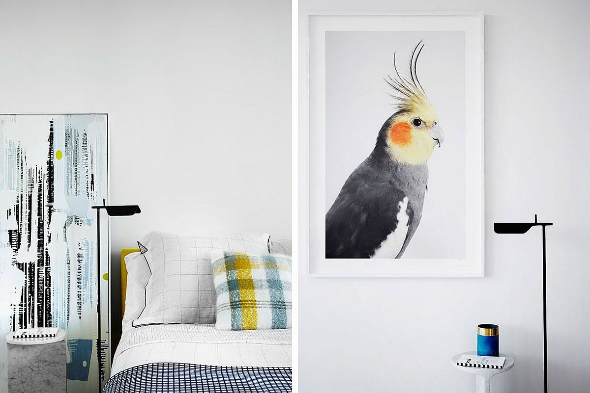 Pops of blue and yellow revitalize bedroom in white