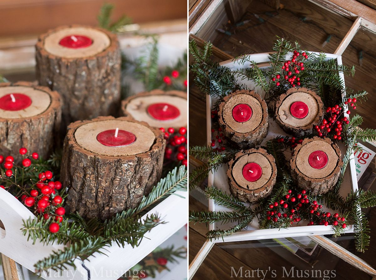 Rustic wood candle holders with festive style [From: Marty's Musings]
