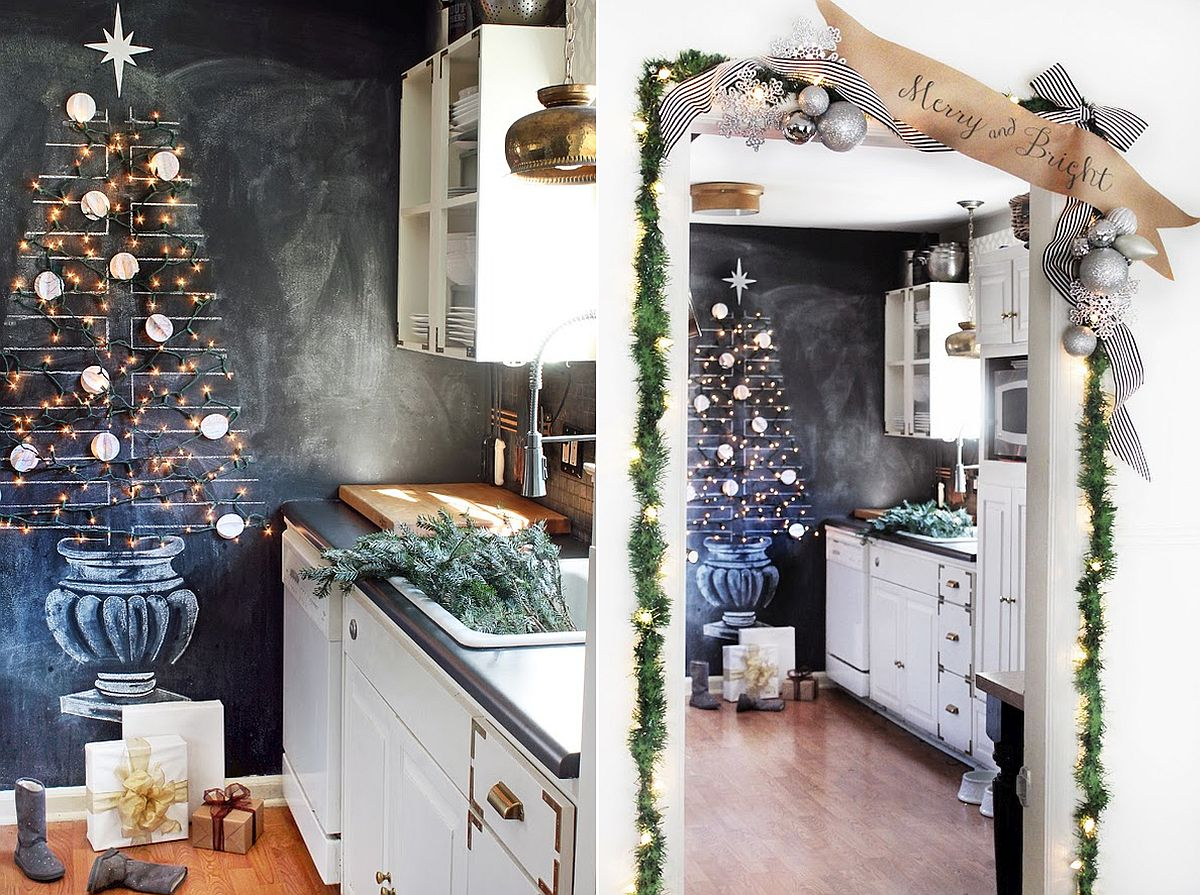 Use chalkboard, string lights and a few ornaments to create your own DIY Christmas Tree [From: Hunted Interior]