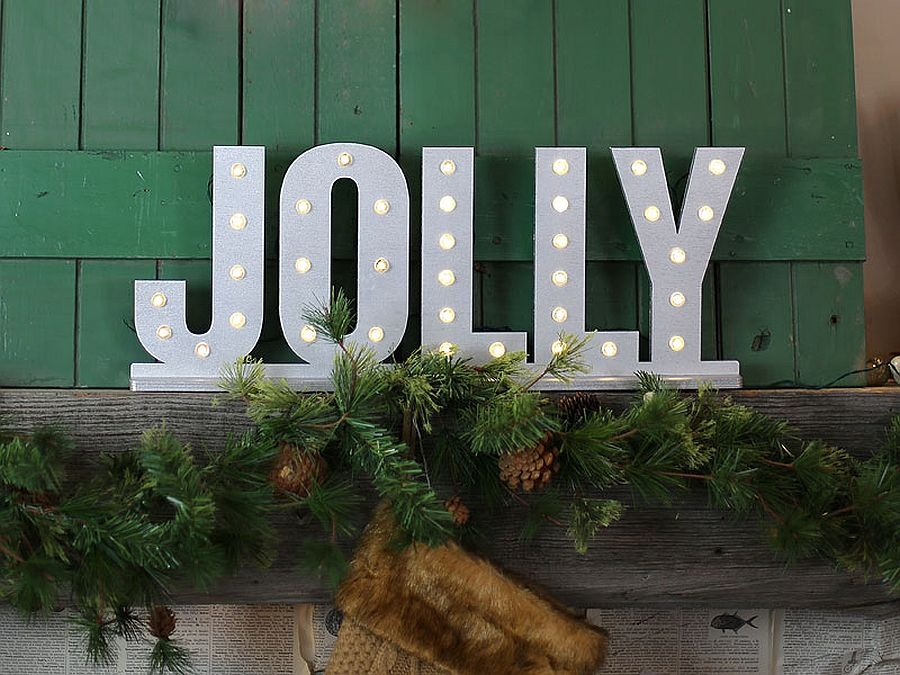 Vintage and industrial DIY Christmas decorating idea with letters and lights [From: craftcuts]