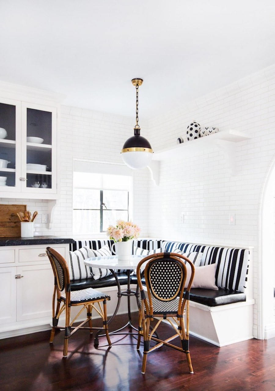 Black and white striped banquette
